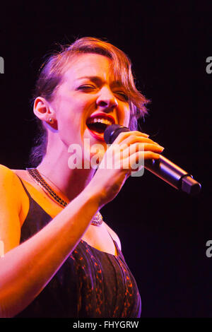 BECCA STEVENS sings for BILLY CHILDS on the main stage of the MONTEREY JAZZ FESTIVAL - Stock Photo