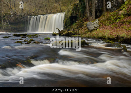 Sgwd Ddwli Uchaf surrounded by autumnal foliage in the Brecon Beacons, Wales. - Stock Photo