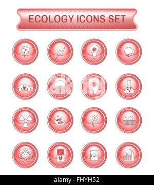 Ecology Icons Set on Red Round Buttons. Digital background vector logotypes set. - Stock Photo
