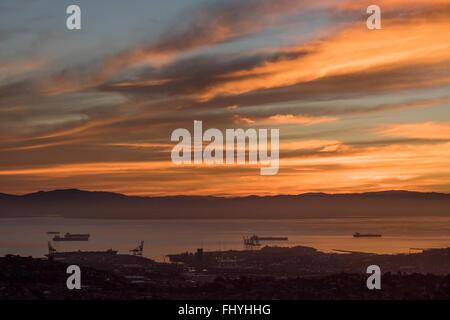 Sun rise over the Golden Gate Bay Area, San Francisco, California, USA - Stock Photo