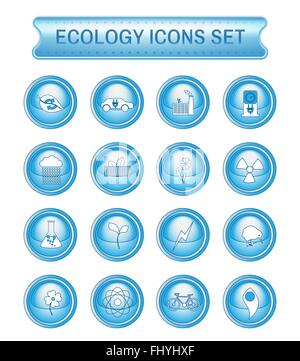 Ecology Icons Set on Blue Round Buttons. Digital background vector logotypes set. - Stock Photo