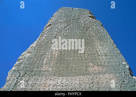GREEK writing on Obelisk at XANTHOS (LYCIA'S ancient capital dating back to the 5th Cent. BC) - TURKEY - Stock Photo
