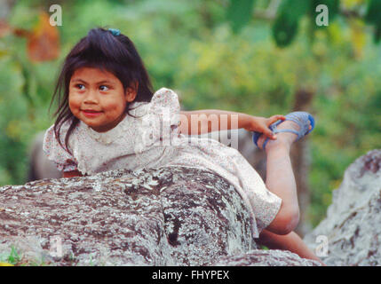 MAYAN GIRL in SANTA ROSA DE COPAN - HONDURAS - Stock Photo