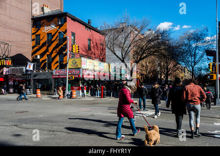 New York, NY - 26 February 2016 - St Marks Place in the East Village - Stock Photo