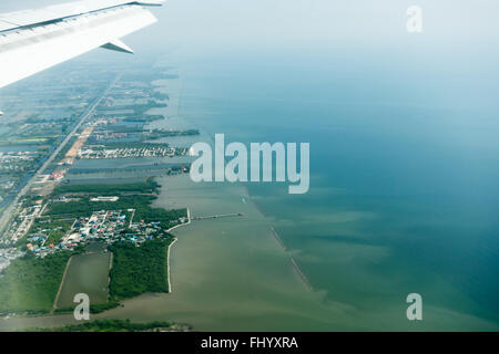 aerial view from an airplane - Stock Photo