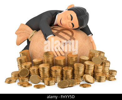3d bow tie people. Tuxedo rich man hugging his money. Isolated white background. - Stock Photo