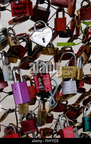 Padlocks on bridge Salzburg - Stock Photo