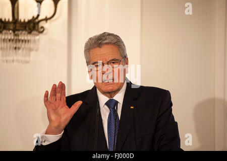 German federal president Joachim Gauck in castle Bellevue at 26th of February 2016 - Stock Photo