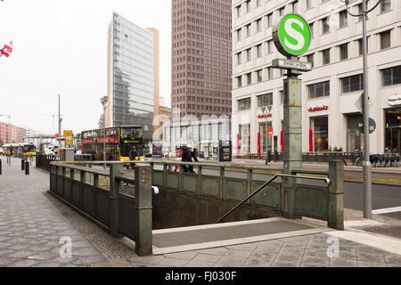 BERLIN, FEBRUARY 26: Entrance to the underground S-Bahn station 'Potsdamerplatz' in Berlin Mitte, on Ferbuary 26, - Stock Photo