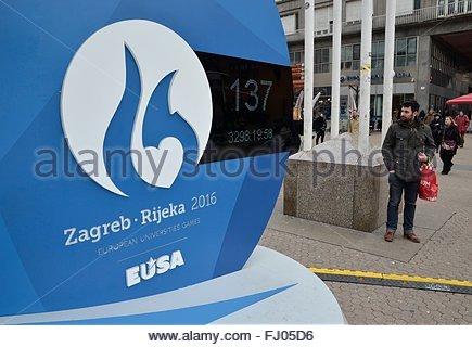 Zagreb, Croatia. 27 Feb 2016. Clock at Ban Josip Jelacic square for the countdown to the European University Games - Stock Photo
