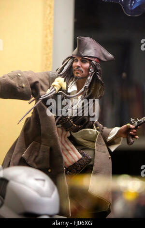 Figur des Piratenkapitaens 'Jack Sparrows' (gespielt von Johnny Depp' aus 'Fluch der Karibik' (Pirates of the Caribbean), - Stock Photo