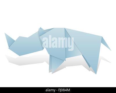 Origami rhinoceros on a white background. - Stock Photo