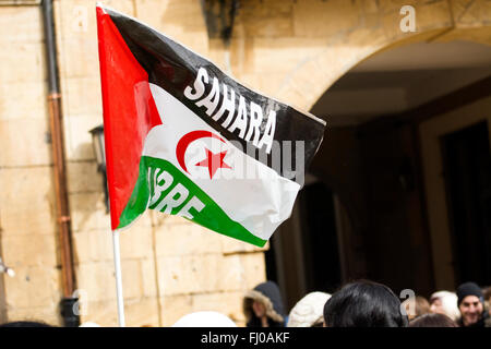 Oviedo, Spain. 27th February, 2016. Flag of Sahrawi Arab Democratic Republic during the European march in favor - Stock Photo