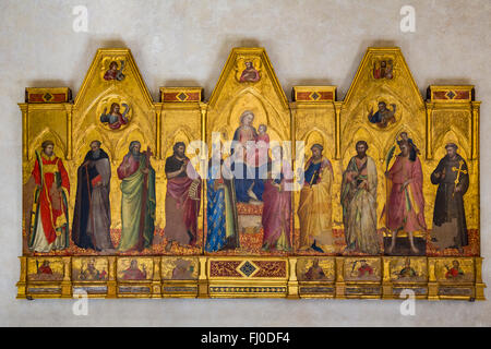 Florence, Tuscany, Italy.  Santa Croce Basilica.  Madonna and Child Enthroned between Saints Louis of Toulouse and John the Evan