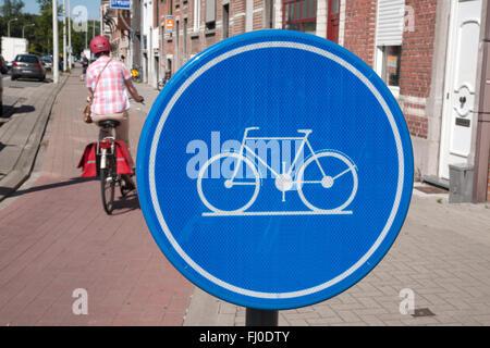 Blue Cycle Lane Symbol On Bollard Stock Photo Royalty