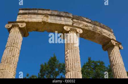 Olympia, Peloponnese, Greece.  Ancient Olympia. The Philippeion, 4th century BC. - Stock Photo