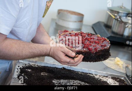 Munich, Germany. 26th Feb, 2016. A baker adds chocolate sprinkles to a raspberry cake at a booth at the Internationale - Stock Photo