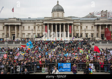 London, England. 27 Feb 2016 After marching through central London thousands of 'Stop Trdent' protesters gathered - Stock Photo