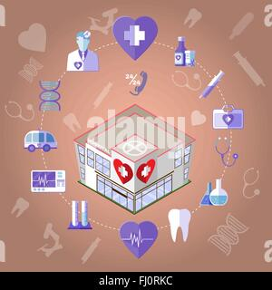 Isometric Hospital Medical Institution. Healthcare Related Objects. Colorful Medical Infographics Icons Set. - Stock Photo