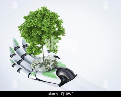 3D Rendering, robot hand holding tree - Stock Photo