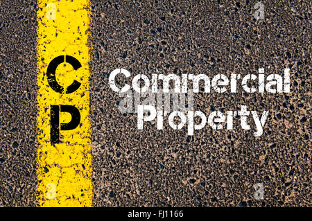 Concept image of Business Acronym CP Commercial Property written over road marking yellow paint line - Stock Photo