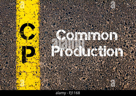 Concept image of Business Acronym CP Common Production written over road marking yellow paint line - Stock Photo