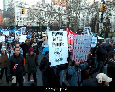 New York, US. 28th Feb, 2016. Bernie Sanders march in New York City, NY. USA © Mark Apollo/Alamy Live News Credit: - Stock Photo