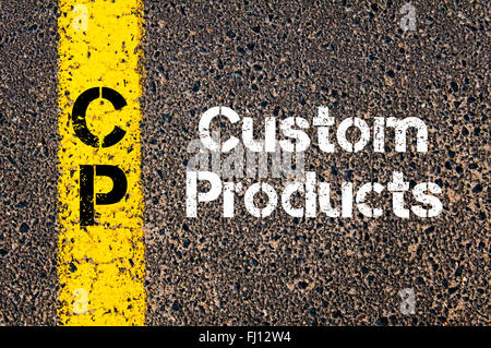Concept image of Business Acronym CP Custom Products written over road marking yellow paint line - Stock Photo