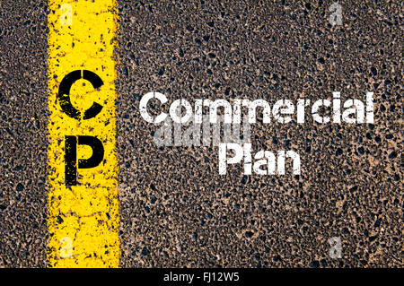 Concept image of Business Acronym CP Commercial Plan written over road marking yellow paint line - Stock Photo