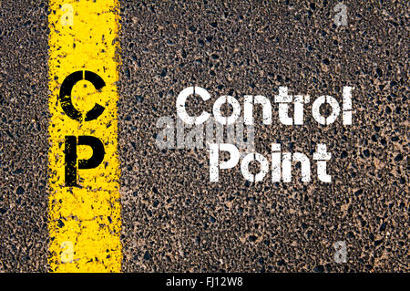 Concept image of Business Acronym CP Control Point written over road marking yellow paint line - Stock Photo