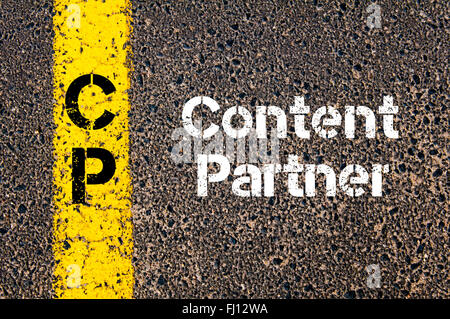 Concept image of Business Acronym CP Content Partner written over road marking yellow paint line - Stock Photo