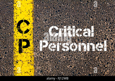 Concept image of Business Acronym CP critical personnel written over road marking yellow paint line - Stock Photo