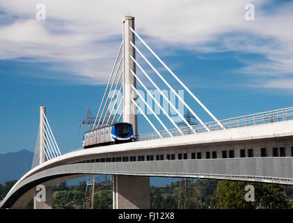 New walking/cycling bridge is carrying the Canada Line over the Fraser River. Canada Line is a rapid transit line - Stock Photo
