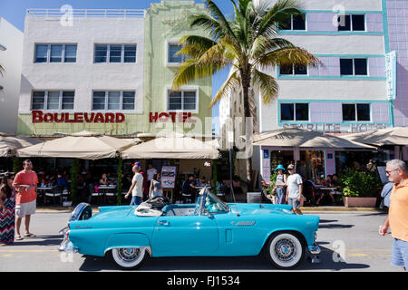 Miami Beach Florida Art Deco District Ocean Drive Art Deco Weekend annual event fair festival convertible classic - Stock Photo