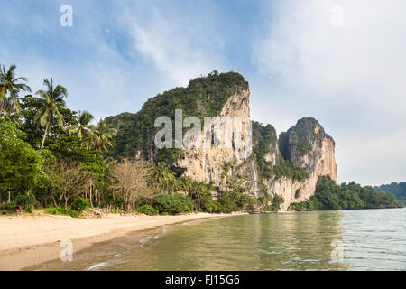 The stunning landscape made of karst formations, the Ton Sai beach and jungle around Railey in Krabi province in - Stock Photo