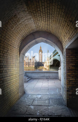UK, London, view to Big Ben and Palace of Westminster through a pedestrian tunnel - Stock Photo