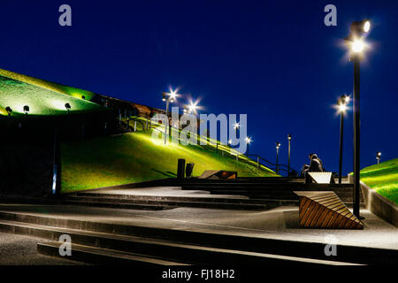 Spodek - a multipurpose arena complex in Katowice, Poland. Tourists destination - Stock Photo