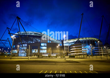 The City of Manchester Stadium in Manchester, England, also known as Etihad Stadium for sponsorship reasons, is - Stock Photo