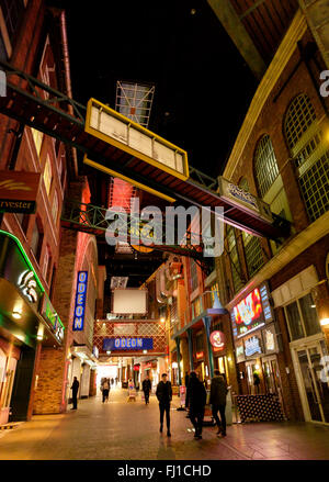 Manchester, UK - 16 February 2016: Interior of The Printworks urban entertainment venue, Manchester. A redevelopment - Stock Photo