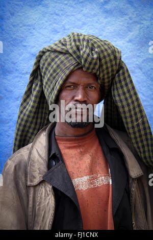 Harari man in old city of Harar , Ethiopia - Stock Photo