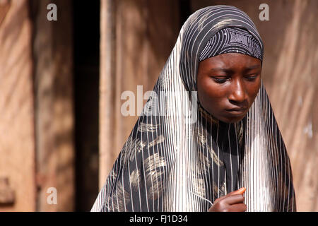 Portrait of woman from Benin , Africa - Stock Photo