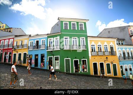 Largo do Pelourinho is a historic neighborhood located in the western zone of Salvador de Bahia , Brazil. - Stock Photo