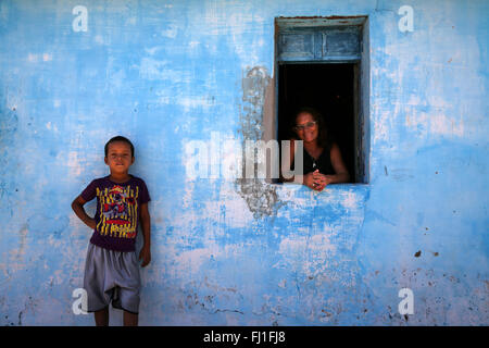 Mother and son in their home  in Barreirinhas ,Maranhao , Brazil - Stock Photo