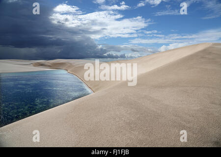 Sand dune and landscape of Lençois Maranhenses, Barreirinhas  , Maranhão , Brazil - Stock Photo