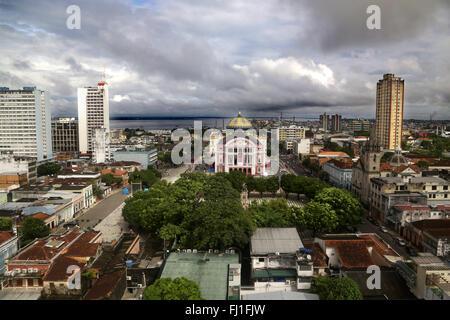 Panorama on Manaus, Amazon, with Manaus theatre , Brazil - Stock Photo