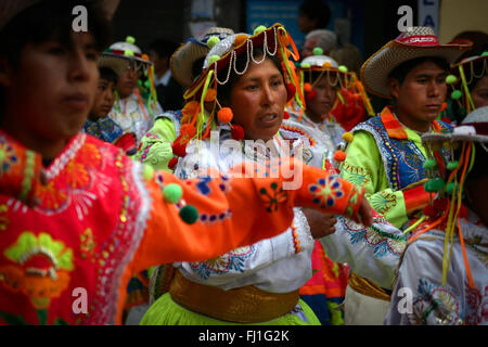 Crowd during Lake Titicaca festival in  Puno, Peru - Stock Photo
