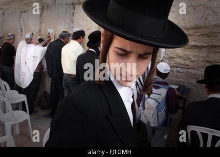 Hardedim man (Ultra orthodox Jew) at the Western Wall / Wailing Wall , Jerusalem , Israel - Stock Photo