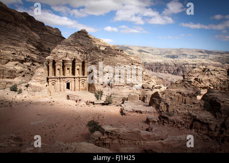 Monastery  (a.k.a. al-Deir or ad-Dayr in Arabic) - Petra, Jordan - Stock Photo