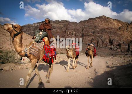 Petra, Jordan  - landscape and beduin people - Stock Photo