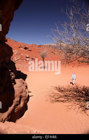 Wadi Rum desert landscape in Jordan , Middle East - Stock Photo
